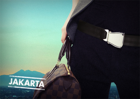 Black Jakarta Airline Seat Belt Destination Color