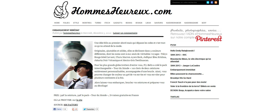 Copie Ecran Article Fly-Belts Hommes Heureux