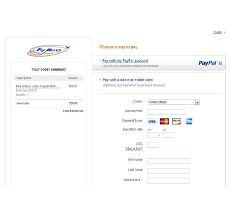 Fly-Belts Paypal secured transaction screenshot
