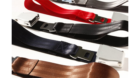 Interchangeables pack airline seat belt many colors.