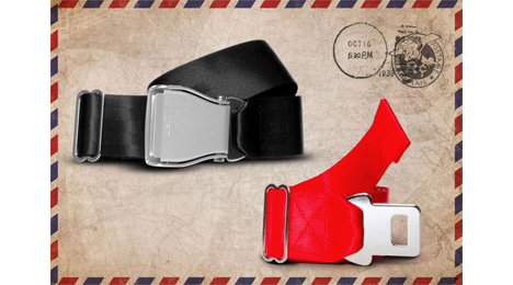 Packshot view of interchangeables pack airline seat belt, black and red colors