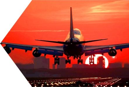 Avion Atterrissage Coucher Soleil Piste Aéroport