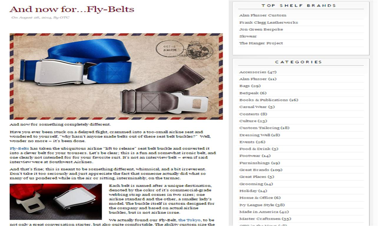 Off the Cuff article Fly-Belts review